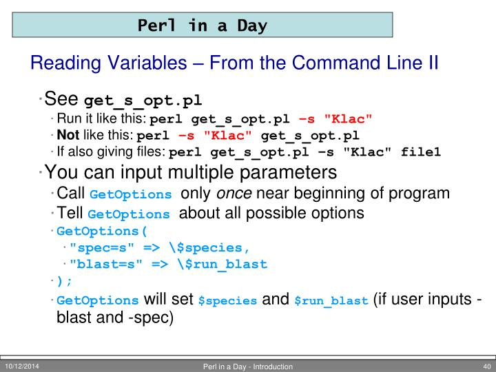 Reading Variables – From the Command Line II