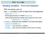 reading variables from the keyboard