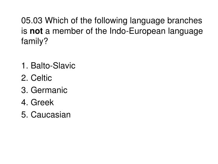 05.03 Which of the following language branches is