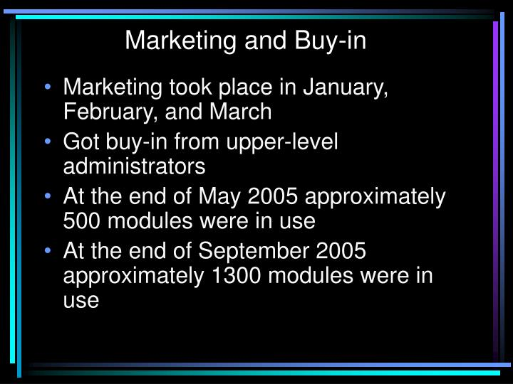 Marketing and Buy-in