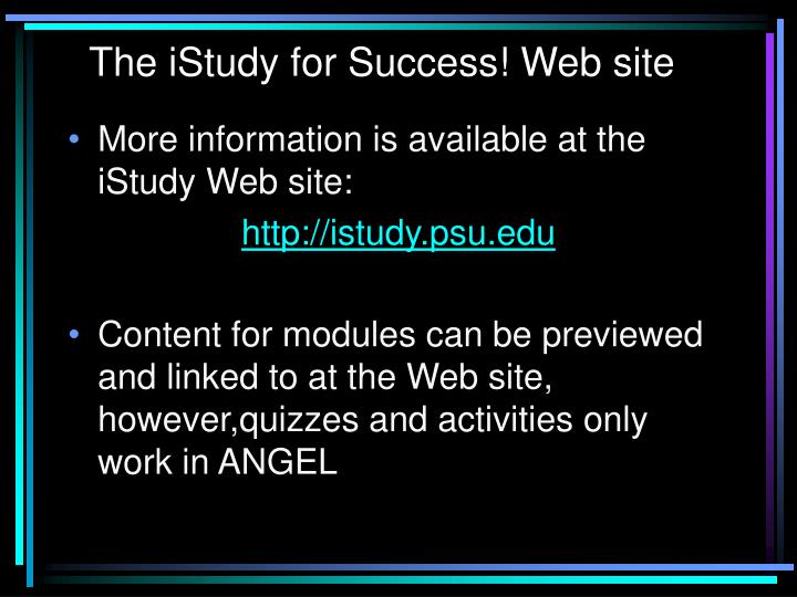 The iStudy for Success! Web site