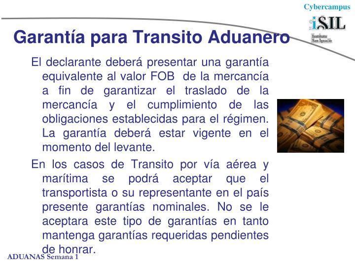 Garantía para Transito Aduanero