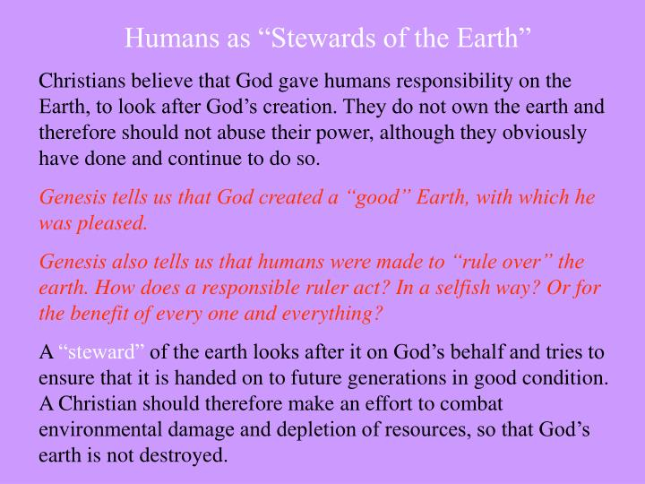 """Humans as """"Stewards of the Earth"""""""