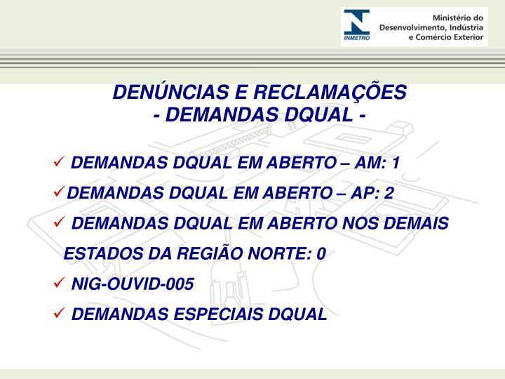 DENÚNCIAS E RECLAMAÇÕES