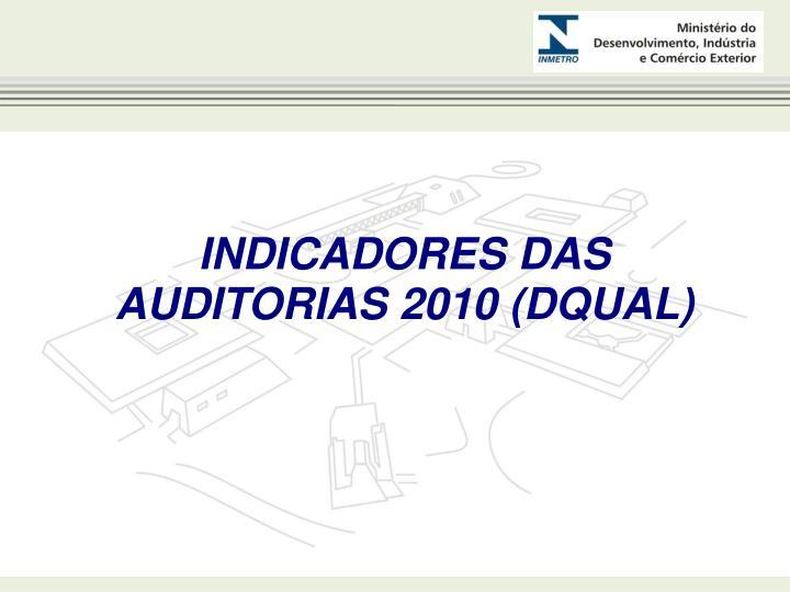 INDICADORES DAS AUDITORIAS 2010 (DQUAL)