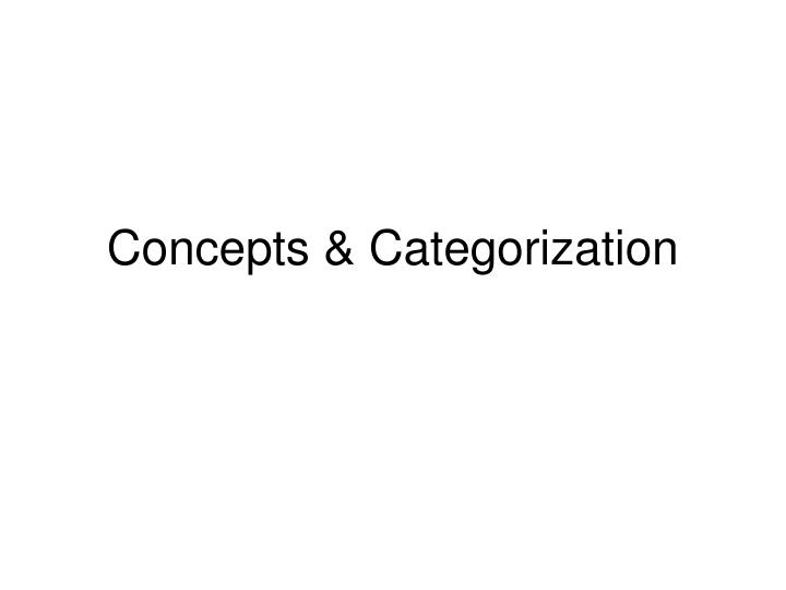 Concepts categorization