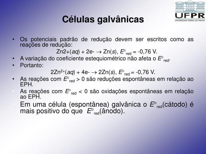 Células galvânicas
