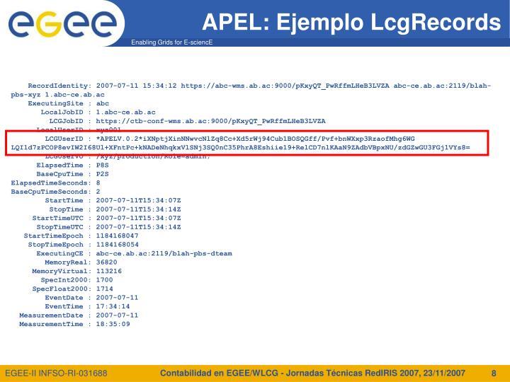 Contabilidad en EGEE/WLCG - Jornadas Técnicas RedIRIS 2007, 23/11/2007