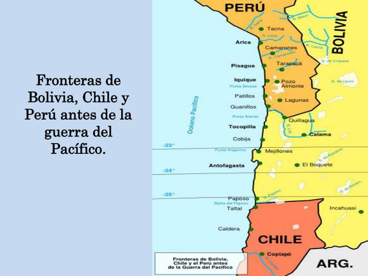 Fronteras de Bolivia, Chile y Perú antes de la guerra del Pacífico.