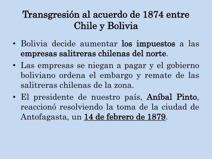 Transgresión al acuerdo de 1874 entre Chile y Bolivia