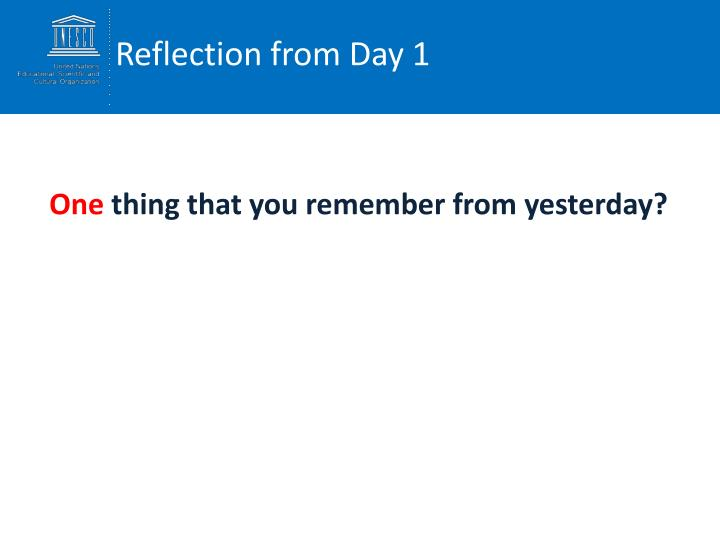 Reflection from Day 1