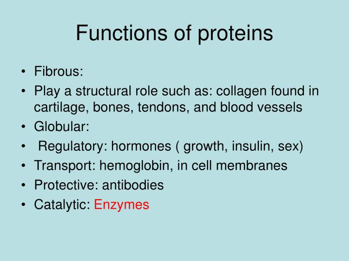 Functions of proteins