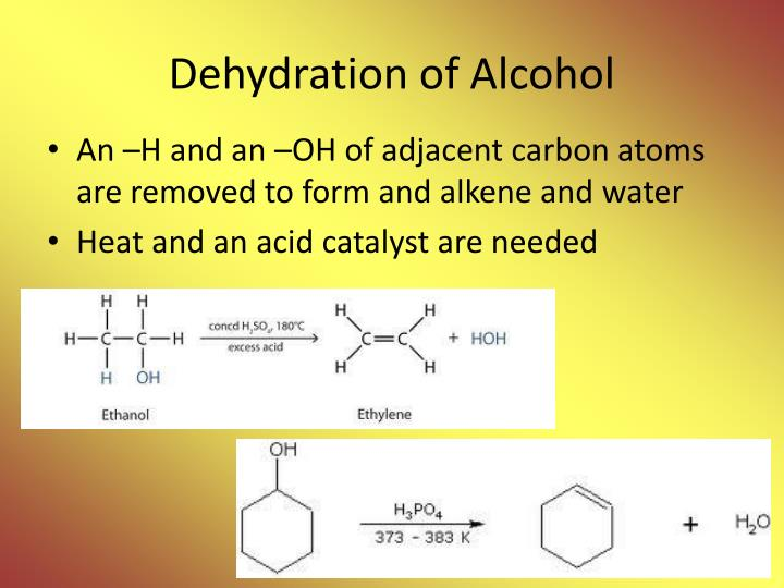 Dehydration of alcohol