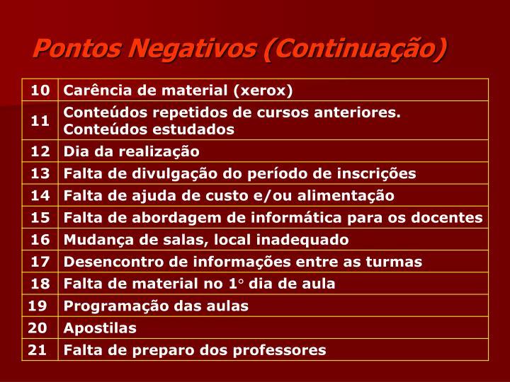 Pontos Negativos (Continuação)