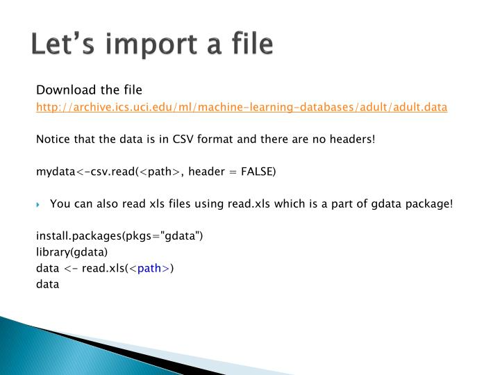 Let's import a file