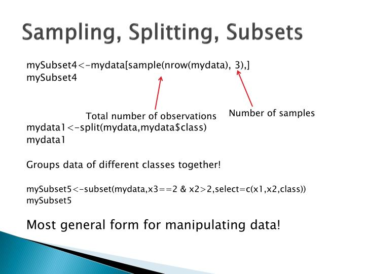 Sampling, Splitting, Subsets