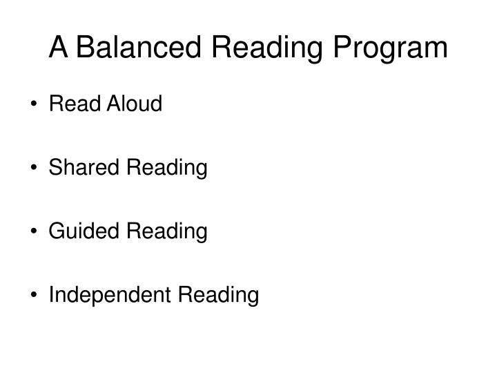 A balanced reading program