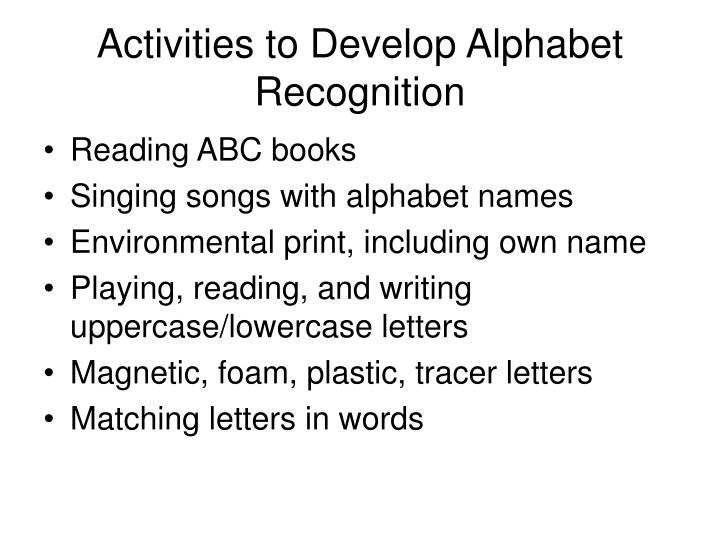 Activities to Develop Alphabet Recognition