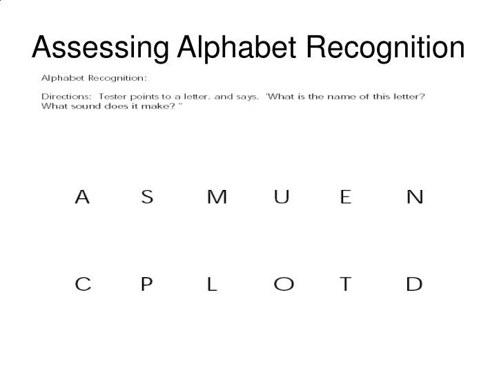 Assessing Alphabet Recognition