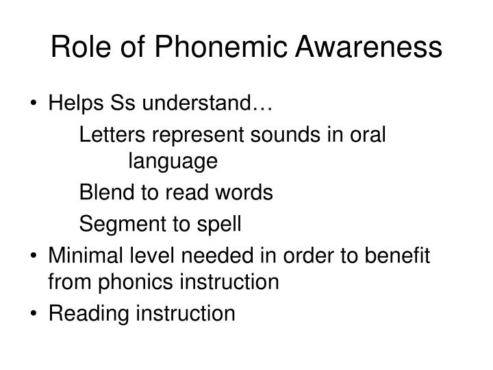 Role of Phonemic Awareness