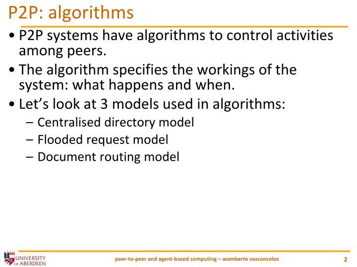P2P: algorithms