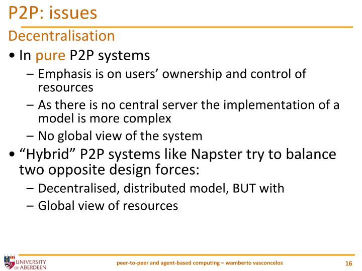 P2P: issues