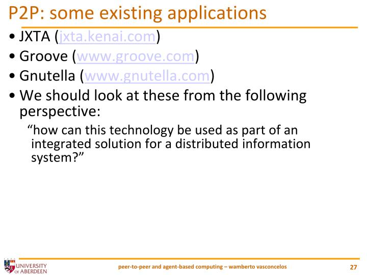 P2P: some existing applications