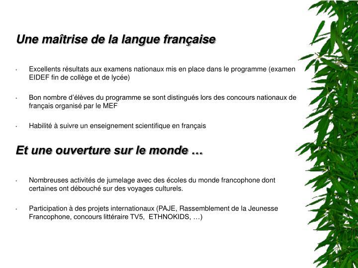 Une maîtrise de la langue française