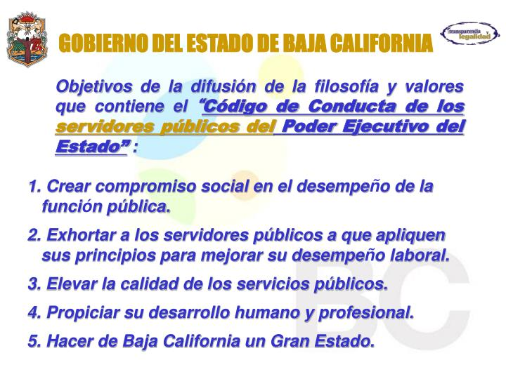 GOBIERNO DEL ESTADO DE BAJA CALIFORNIA