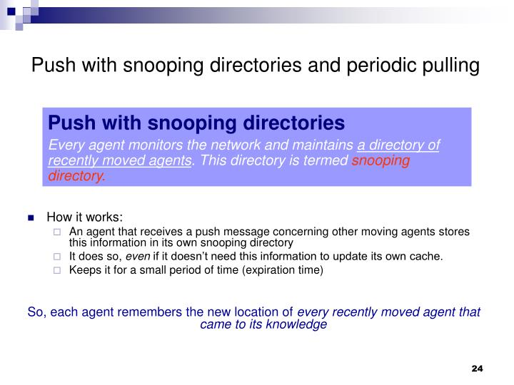 Push with snooping directories and periodic pulling