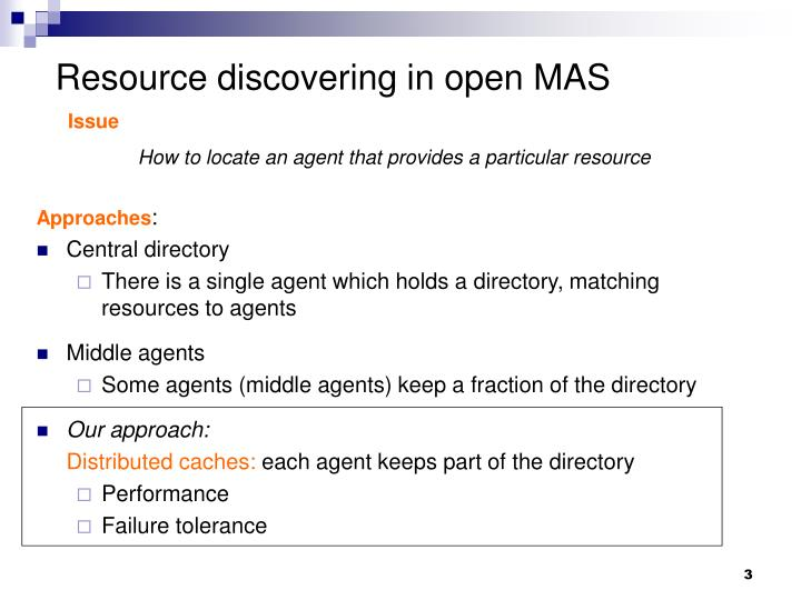 Resource discovering in open mas