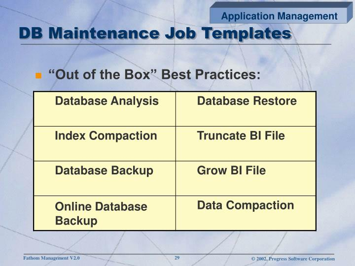 DB Maintenance Job Templates