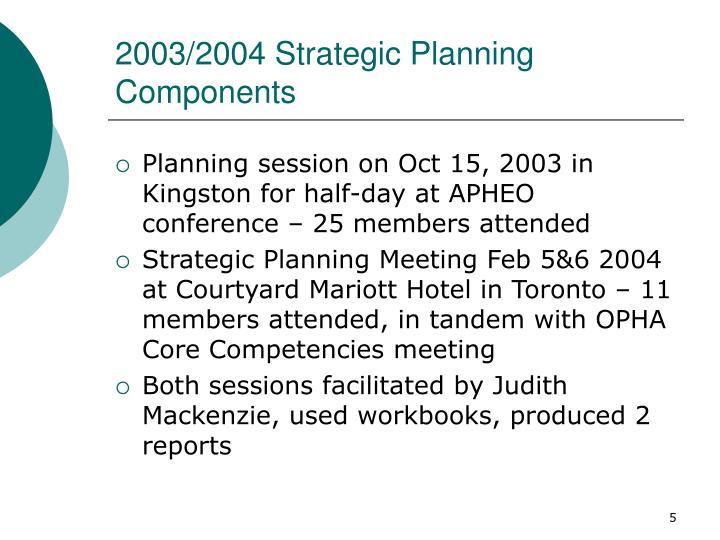 2003/2004 Strategic Planning