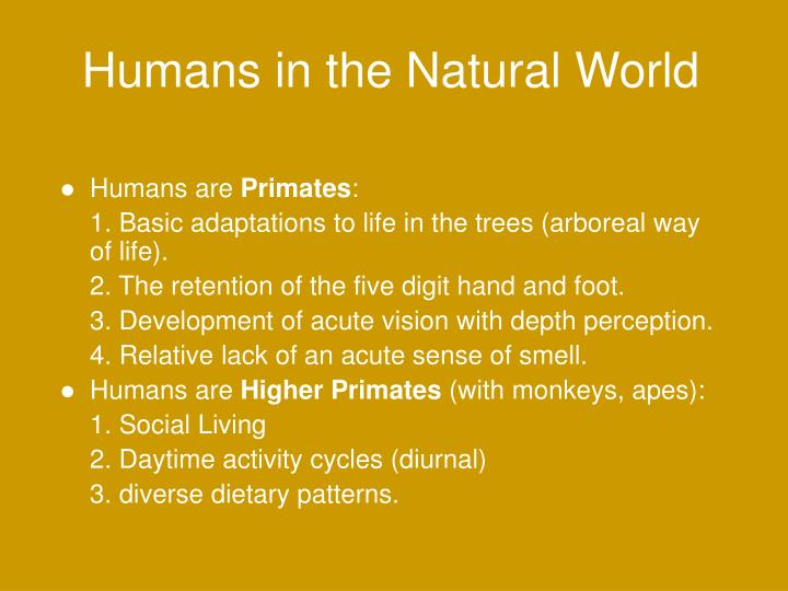 Humans in the Natural World