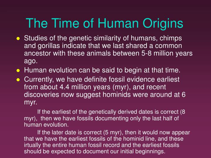 The Time of Human Origins