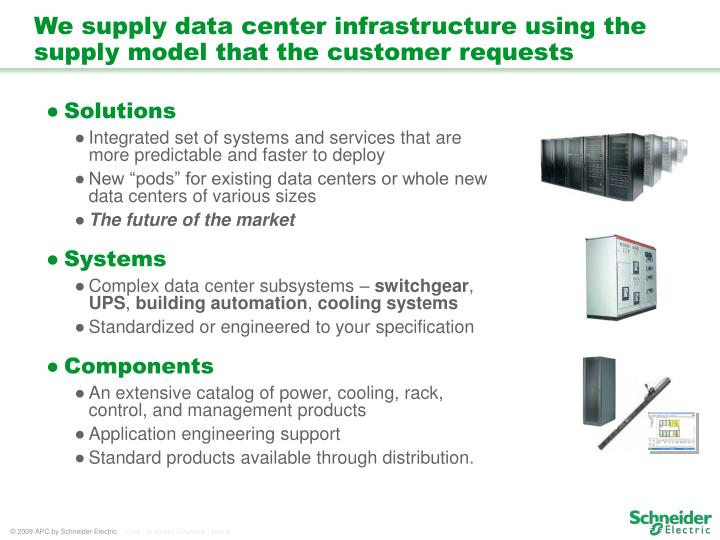 We supply data center infrastructure using the supply model that the customer requests