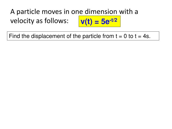 A particle moves in one dimension with a velocity as follows: