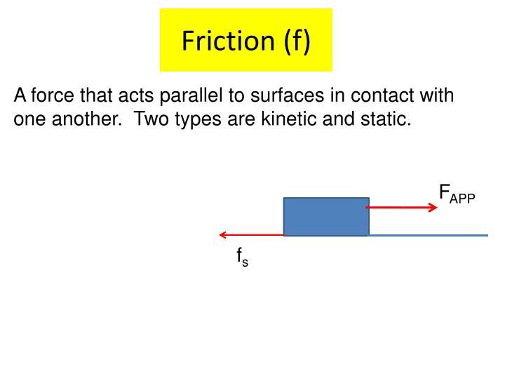 Friction (f)