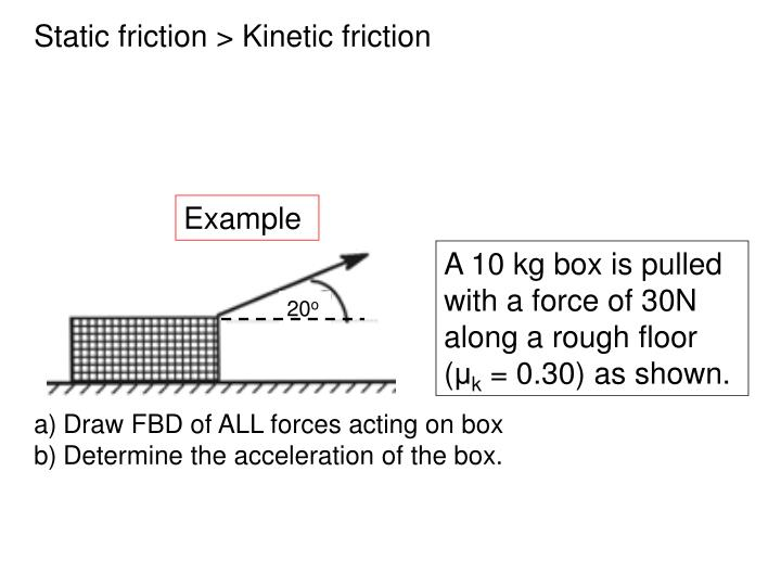 Static friction > Kinetic friction
