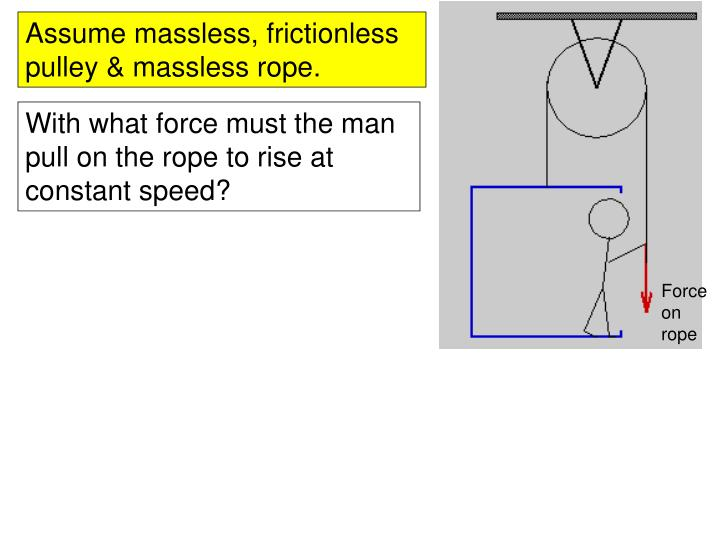 Assume massless, frictionless pulley & massless rope.