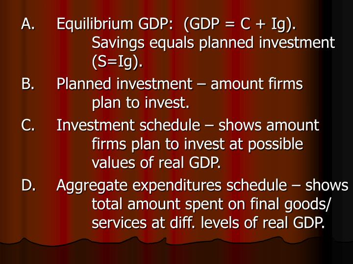 A.	Equilibrium GDP:  (GDP = C + Ig).  			Savings equals planned investment 		(S=Ig).