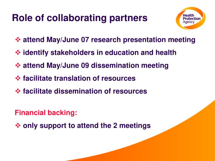 Role of collaborating partners