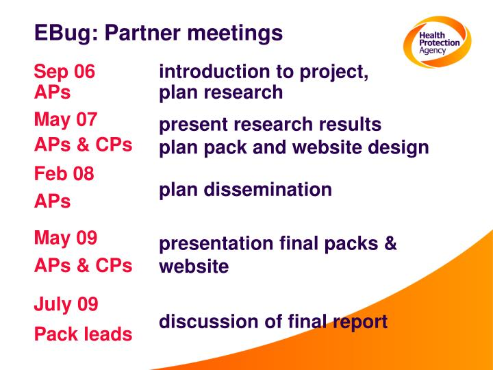 EBug: Partner meetings
