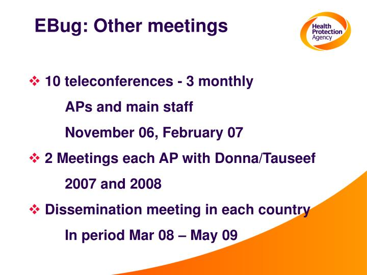 EBug: Other meetings
