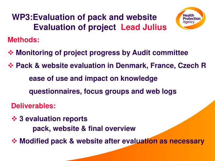 WP3:Evaluation of pack and website Evaluation of project