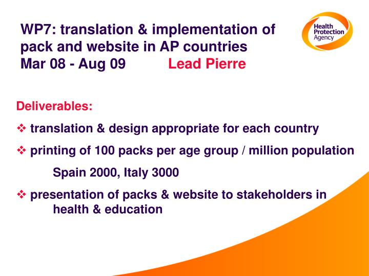 WP7: translation & implementation of pack and website in AP countries