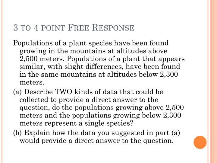 3 to 4 point Free Response