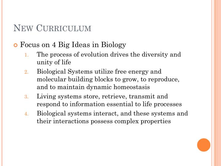 New curriculum