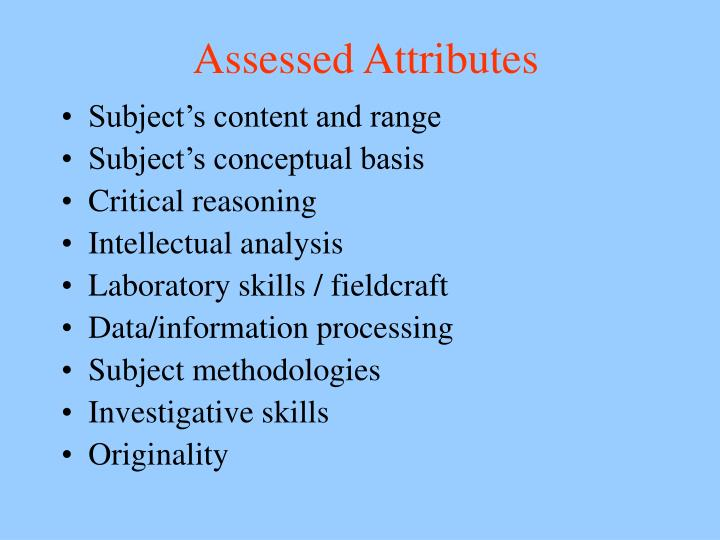 Assessed Attributes