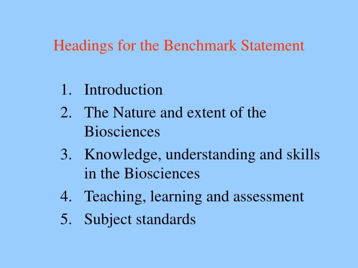 Headings for the Benchmark Statement